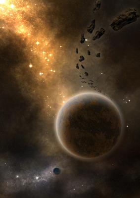 D'or et d'argent les nuées cosmiques entonnent l'hymne des sphères en l'honneur de ces mondes duels, l'une dédié au feu, l'autre verset des eaux et la menace des astéroïdes mêle sa note tragique à ce duo.