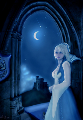 Jeune femme, princesse en son château, regarde par la fenêtre le bleu de la nuit, la clarté de la lune et des étoiles et la brume qui enlace une tour médiévale