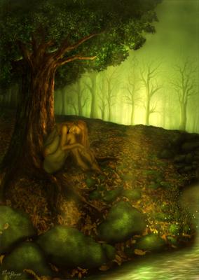 Les corolles des boutons d'or répondent au clapotis du flot, entre les racines garnies de mousse du chêne pubescent dort une fée à la peau couleur d'ocre et aux cheveux safran.
