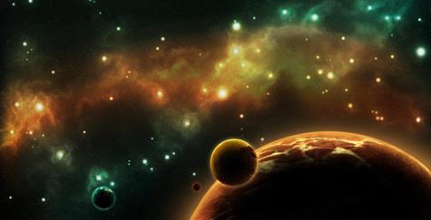 Sous une ribambelle galactique d'émeraude et de vermeil, la troisième lune tigrée d'or se dresse au-dessus de la planète géante à l'écoute des étoiles